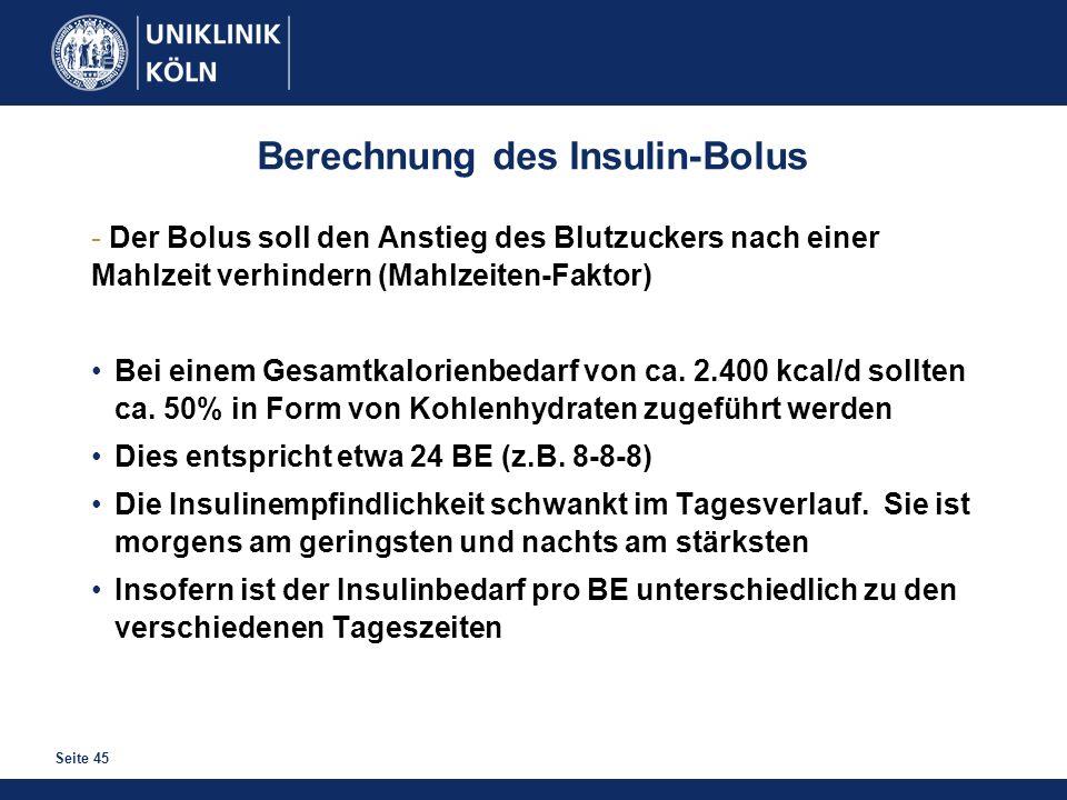 Berechnung des Insulin-Bolus