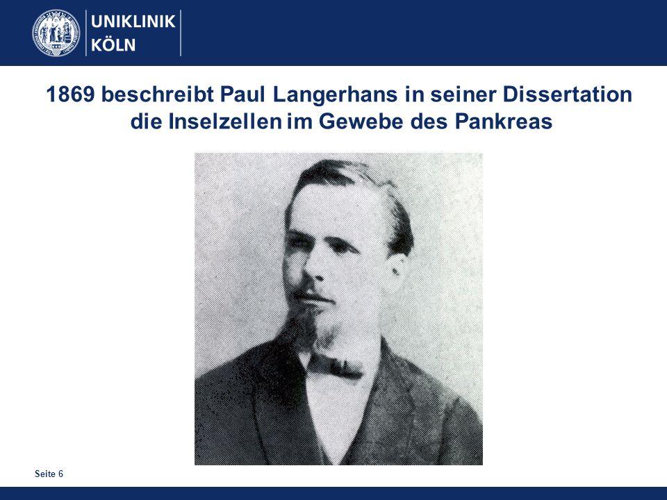 1869 beschreibt Paul Langerhans in seiner Dissertation