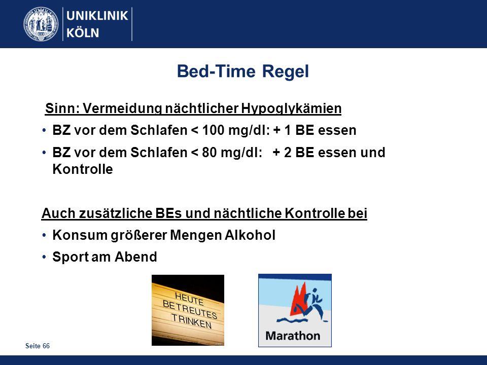 Bed-Time Regel Sinn: Vermeidung nächtlicher Hypoglykämien