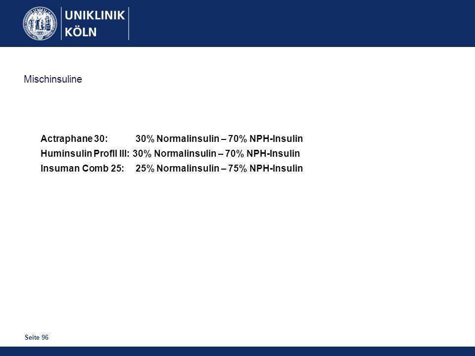 Mischinsuline Actraphane 30: 30% Normalinsulin – 70% NPH-Insulin