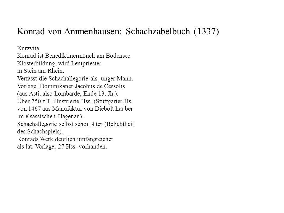 Konrad von Ammenhausen: Schachzabelbuch (1337)