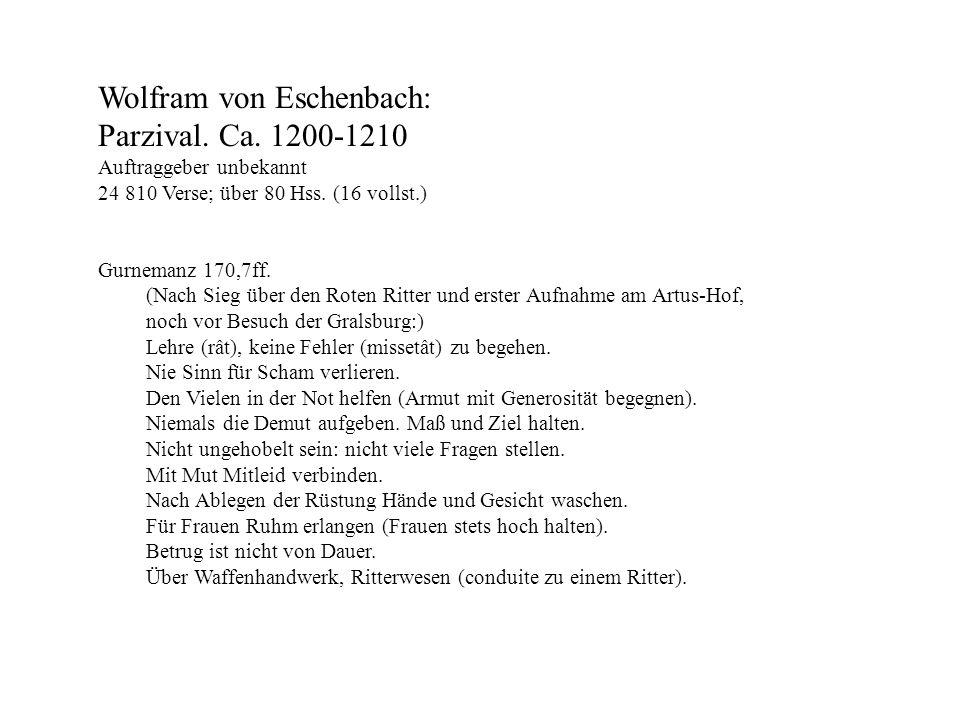 Wolfram von Eschenbach: Parzival. Ca. 1200-1210