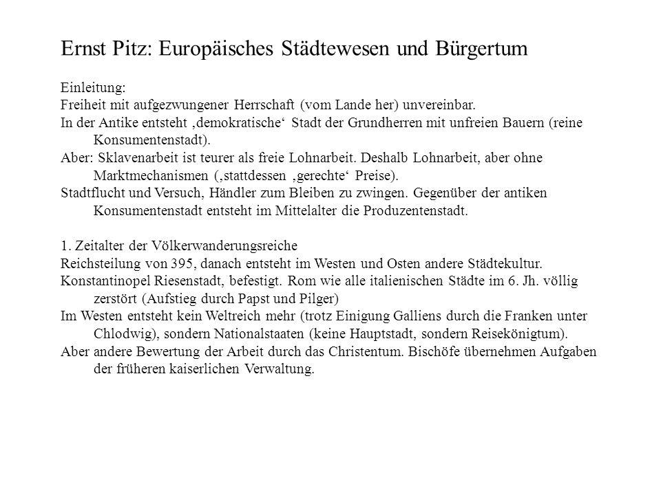 Ernst Pitz: Europäisches Städtewesen und Bürgertum