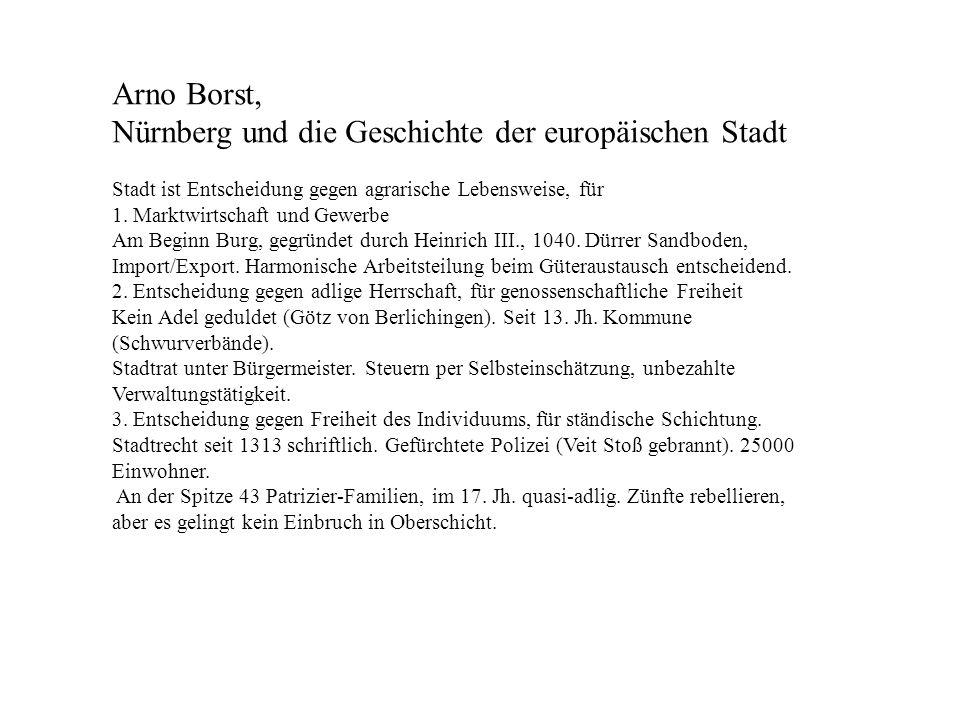 Nürnberg und die Geschichte der europäischen Stadt