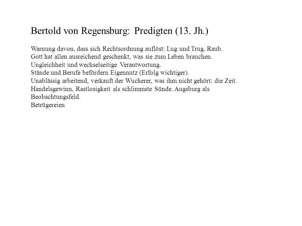 Bertold von Regensburg: Predigten (13. Jh.)
