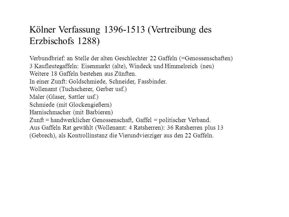 Kölner Verfassung 1396-1513 (Vertreibung des Erzbischofs 1288)