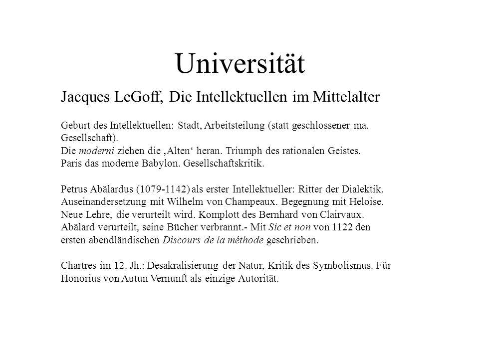 Universität Jacques LeGoff, Die Intellektuellen im Mittelalter