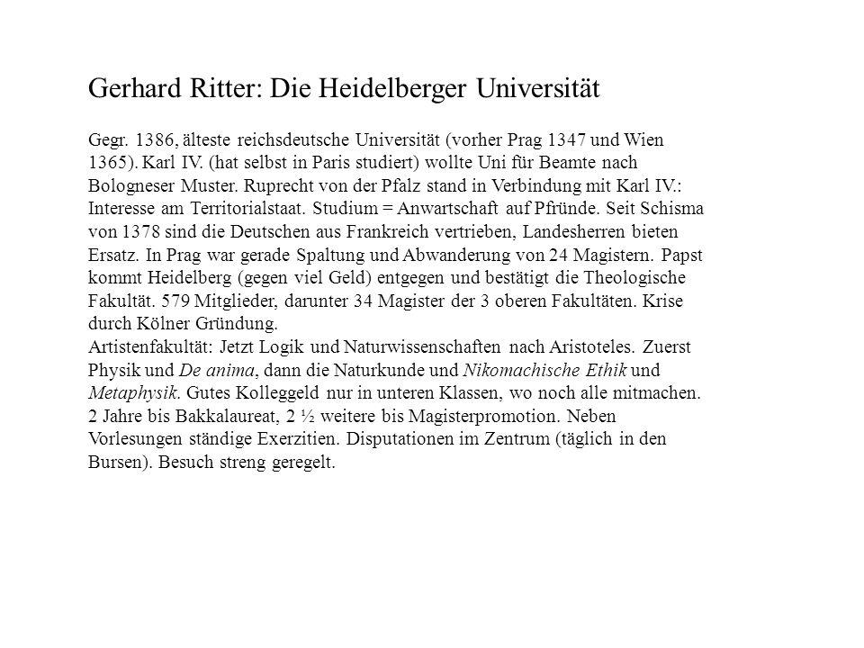 Gerhard Ritter: Die Heidelberger Universität
