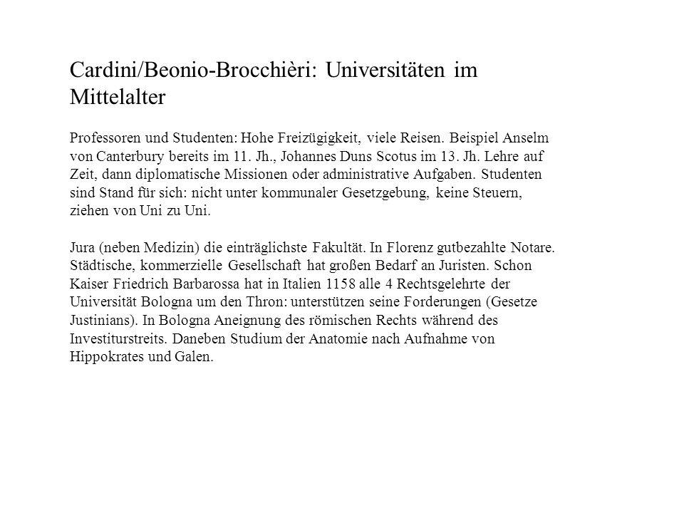 Cardini/Beonio-Brocchièri: Universitäten im Mittelalter