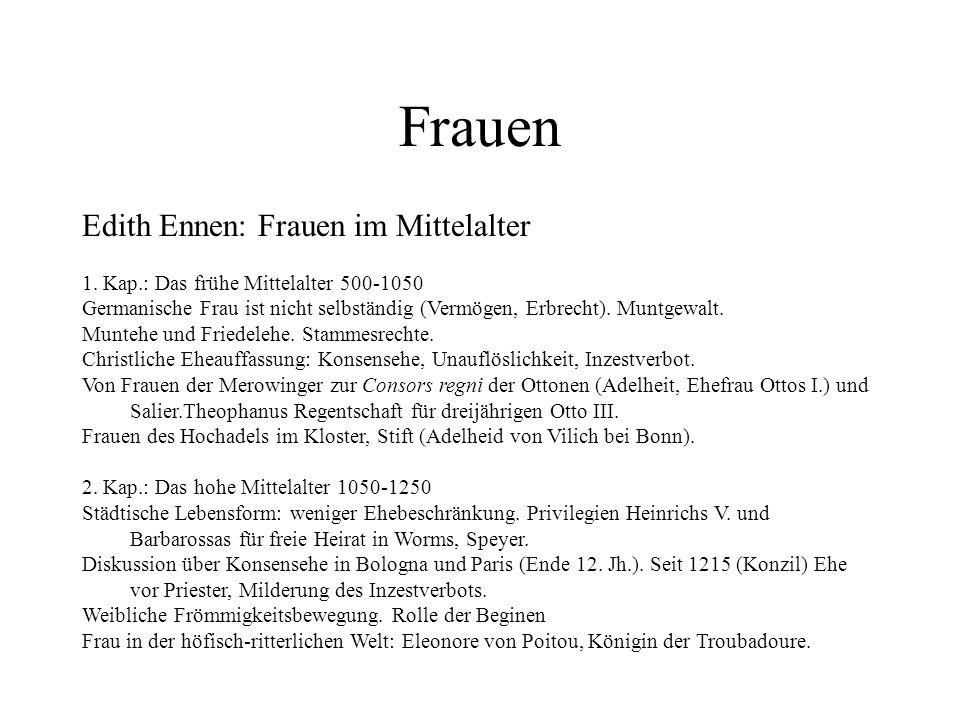 Frauen Edith Ennen: Frauen im Mittelalter