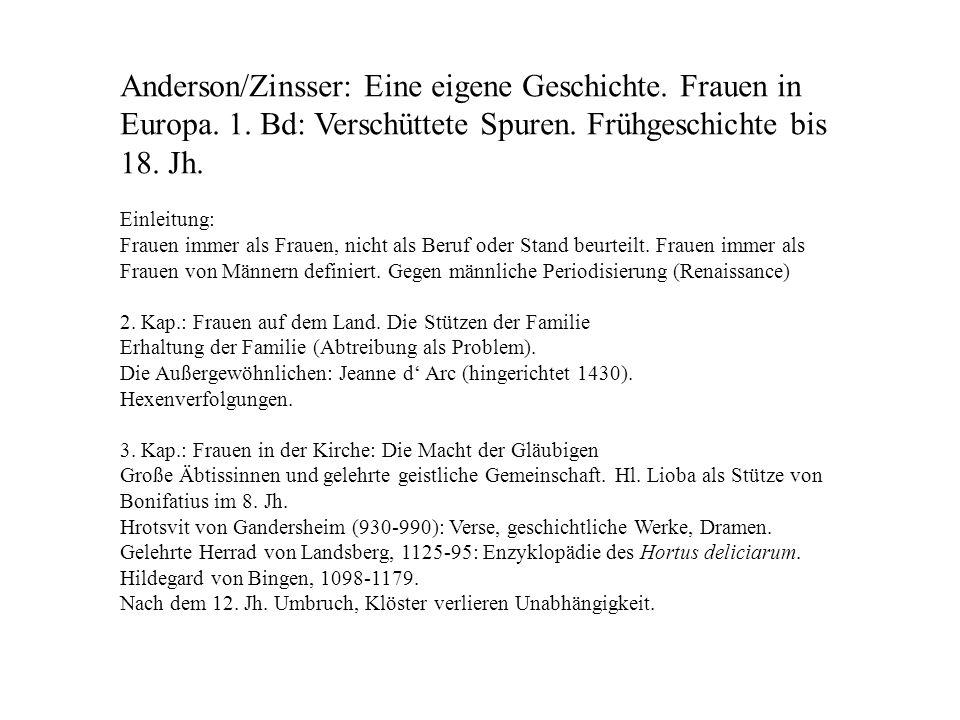 Anderson/Zinsser: Eine eigene Geschichte. Frauen in Europa. 1
