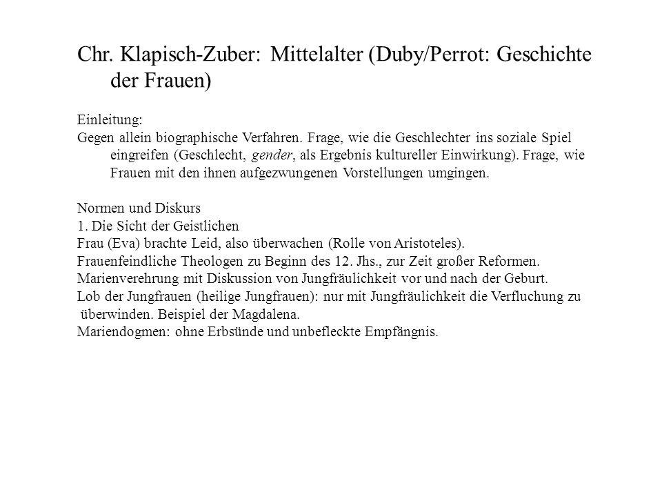 Chr. Klapisch-Zuber: Mittelalter (Duby/Perrot: Geschichte der Frauen)
