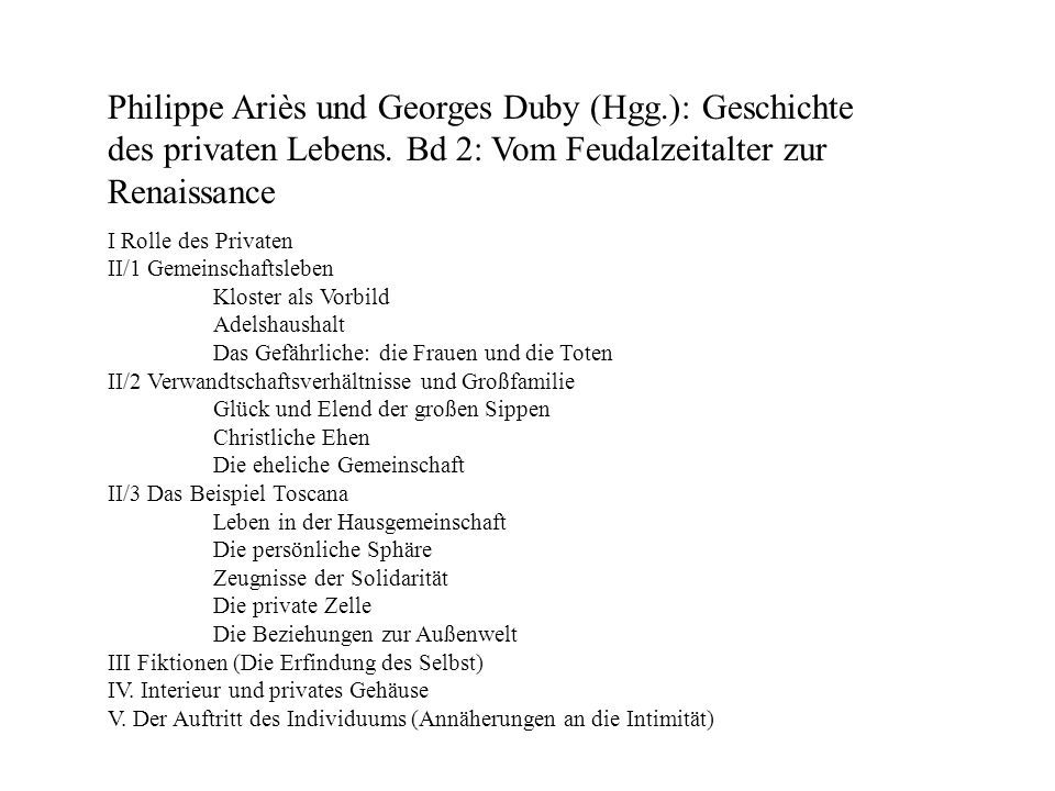 Philippe Ariès und Georges Duby (Hgg.): Geschichte des privaten Lebens. Bd 2: Vom Feudalzeitalter zur Renaissance