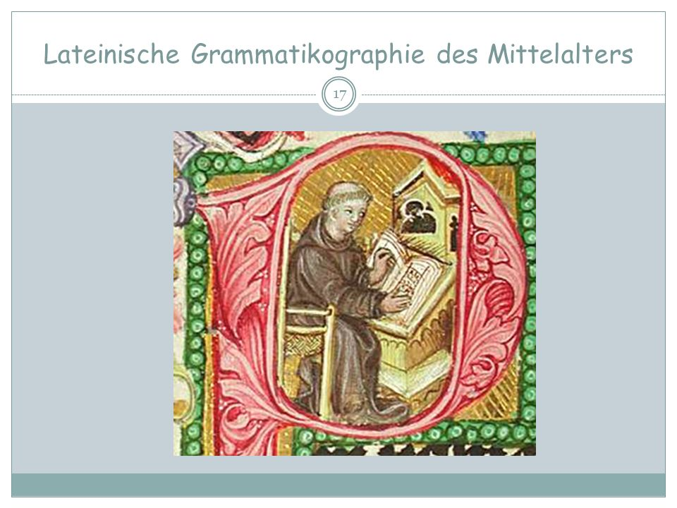 Lateinische Grammatikographie des Mittelalters