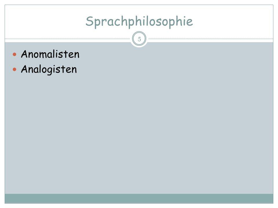 Sprachphilosophie Anomalisten Analogisten