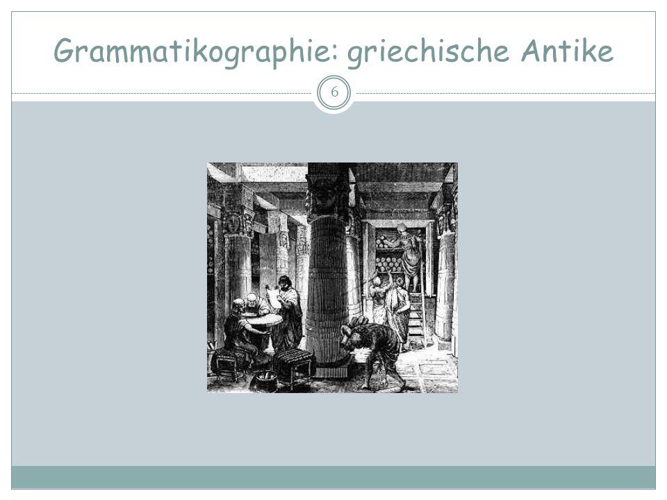 Grammatikographie: griechische Antike