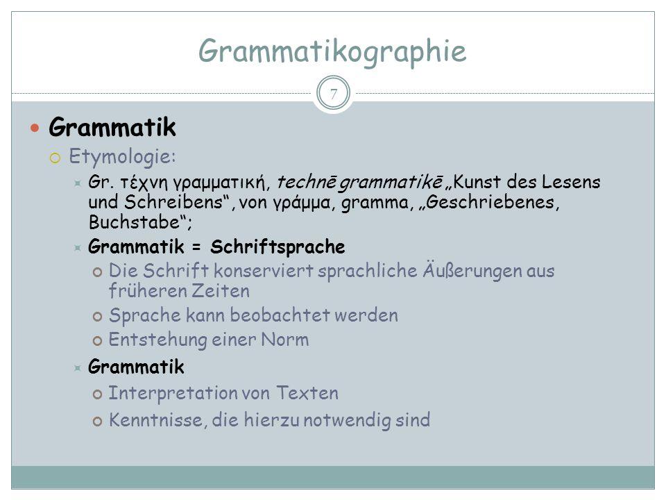 Grammatikographie Grammatik Etymologie: