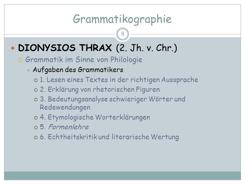 Grammatikographie DIONYSIOS THRAX (2. Jh. v. Chr.)