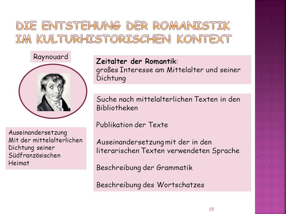 Die Entstehung der Romanistik im kulturhistorischen Kontext