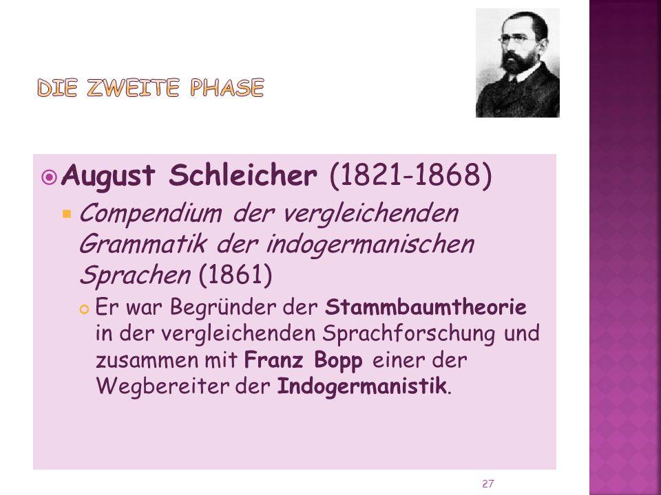 Die zweite Phase August Schleicher (1821-1868) Compendium der vergleichenden Grammatik der indogermanischen Sprachen (1861)