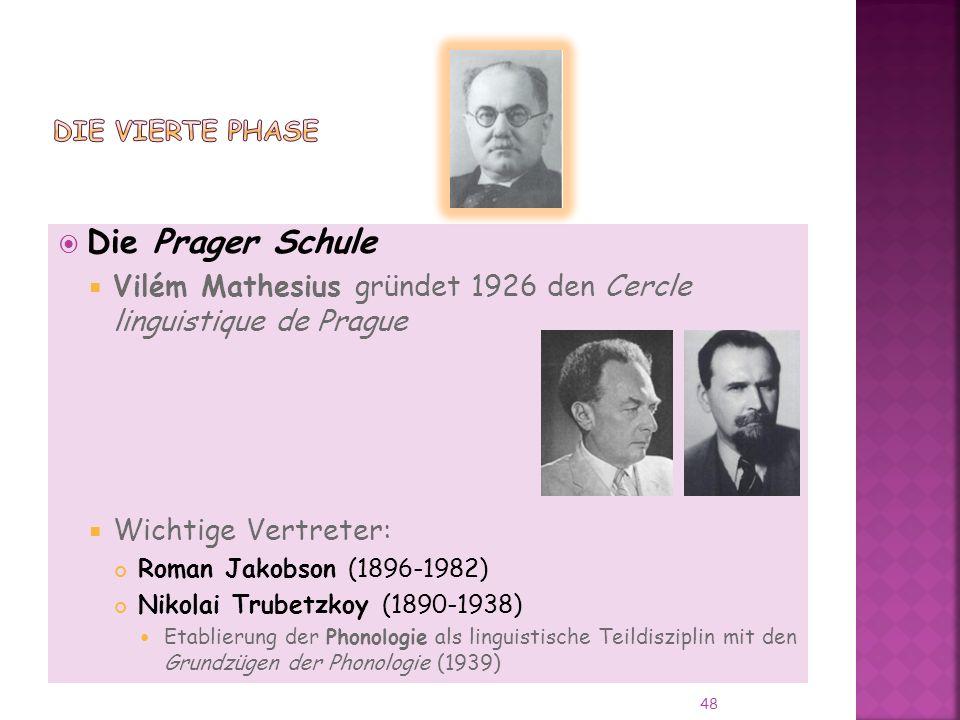 Die vierte Phase Die Prager Schule. Vilém Mathesius gründet 1926 den Cercle linguistique de Prague.