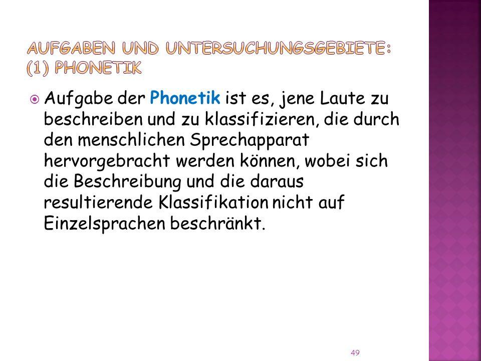 Aufgaben und Untersuchungsgebiete: (1) PHONETIK