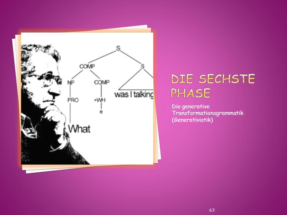 Die sechste Phase Die generative Transformationsgrammatik (Generativistik)