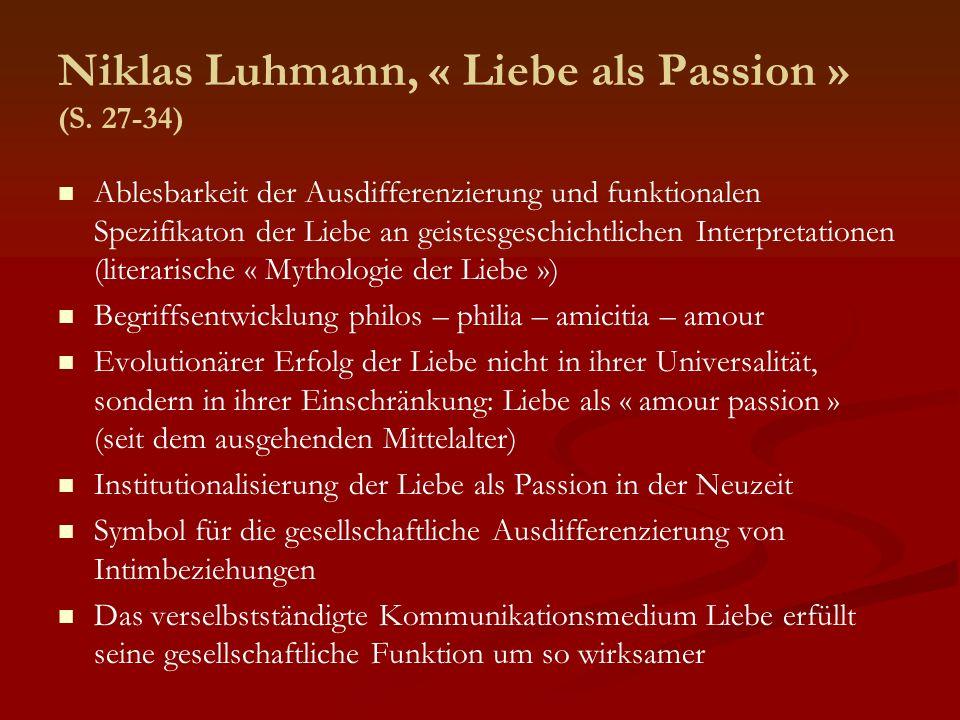 Niklas Luhmann, « Liebe als Passion » (S. 27-34)