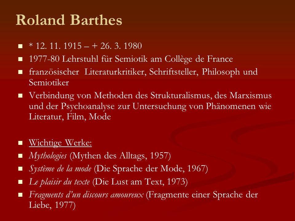 Roland Barthes * 12. 11. 1915 – + 26. 3. 1980. 1977-80 Lehrstuhl für Semiotik am Collège de France.