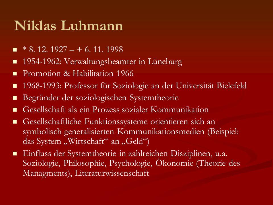 Niklas Luhmann * 8. 12. 1927 – + 6. 11. 1998. 1954-1962: Verwaltungsbeamter in Lüneburg. Promotion & Habilitation 1966.