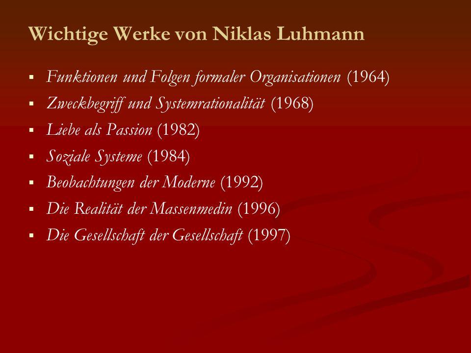 Wichtige Werke von Niklas Luhmann