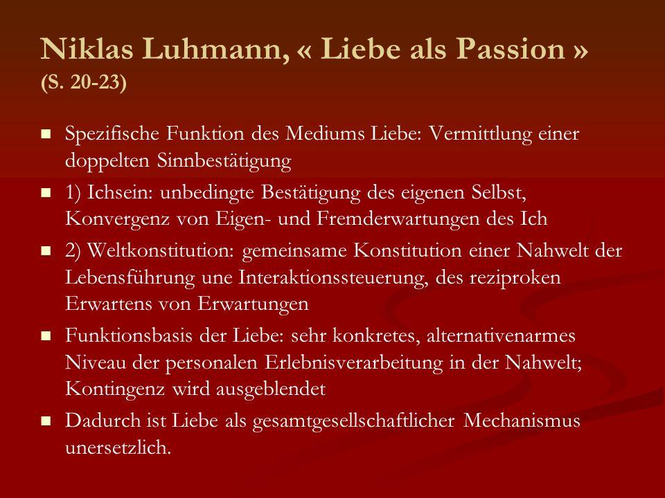 Niklas Luhmann, « Liebe als Passion » (S. 20-23)