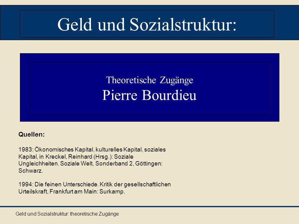 Geld und Sozialstruktur: