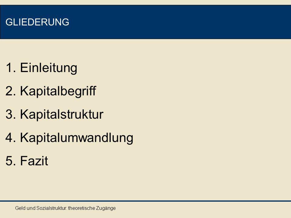 Einleitung Kapitalbegriff Kapitalstruktur Kapitalumwandlung Fazit