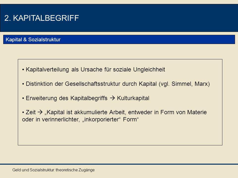 2. KAPITALBEGRIFF Kapital & Sozialstruktur. Kapitalverteilung als Ursache für soziale Ungleichheit.