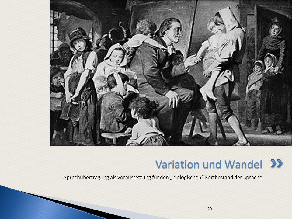"""Variation und Wandel Sprachübertragung als Voraussetzung für den """"biologischen Fortbestand der Sprache."""