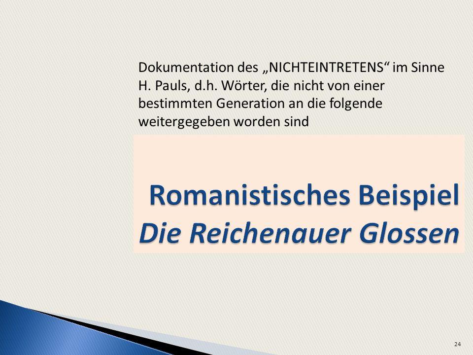 Romanistisches Beispiel Die Reichenauer Glossen