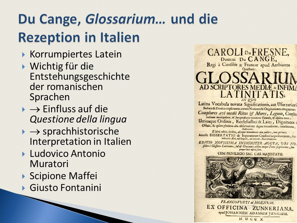 Du Cange, Glossarium… und die Rezeption in Italien