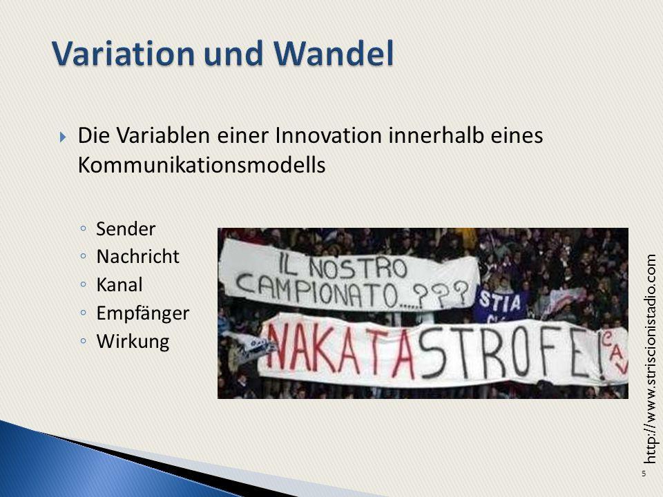 Variation und Wandel Die Variablen einer Innovation innerhalb eines Kommunikationsmodells. Sender.