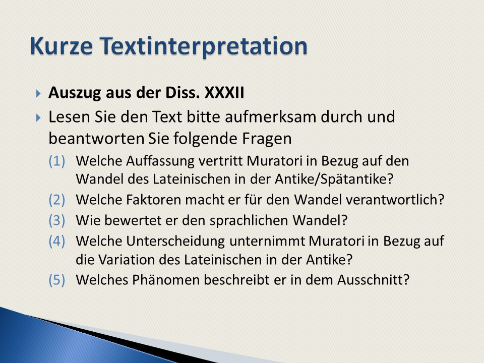 Kurze Textinterpretation