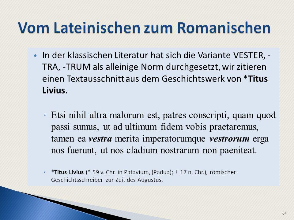 Vom Lateinischen zum Romanischen