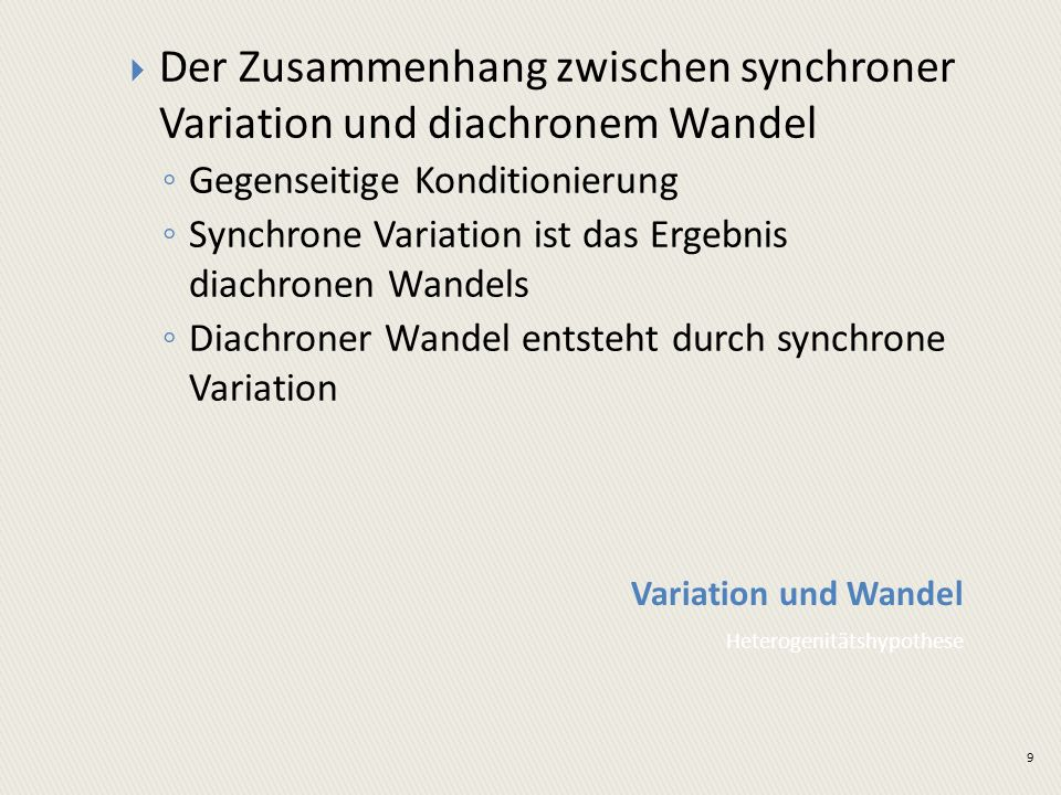 Der Zusammenhang zwischen synchroner Variation und diachronem Wandel