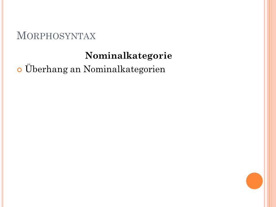 Morphosyntax Nominalkategorie Überhang an Nominalkategorien