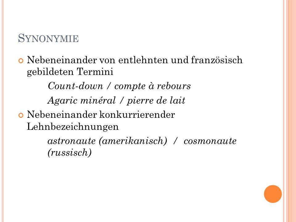 Synonymie Nebeneinander von entlehnten und französisch gebildeten Termini. Count-down / compte à rebours.