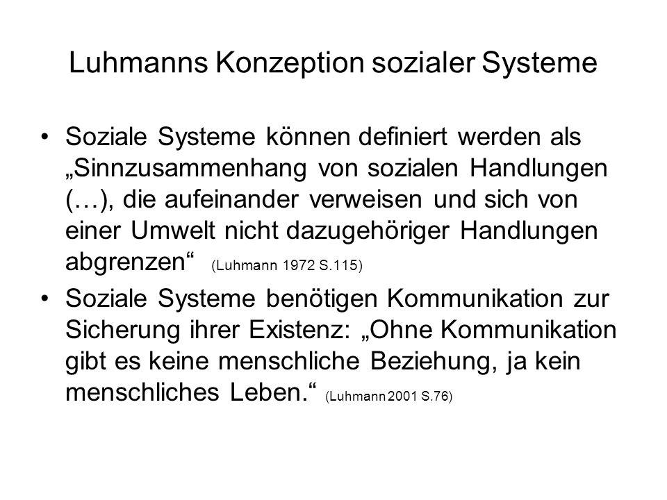 Luhmanns Konzeption sozialer Systeme