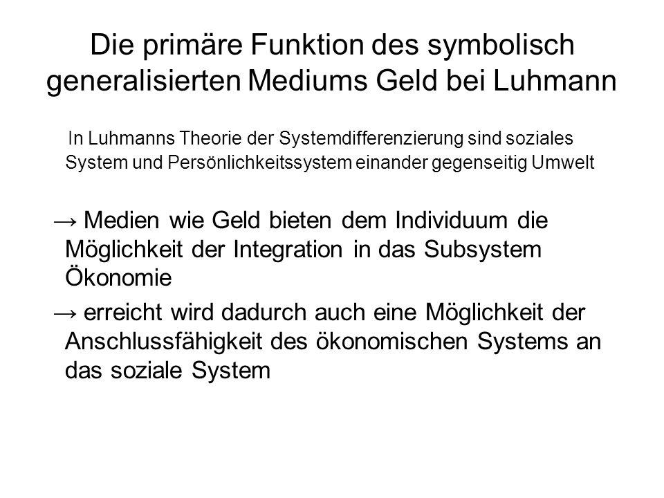 Die primäre Funktion des symbolisch generalisierten Mediums Geld bei Luhmann
