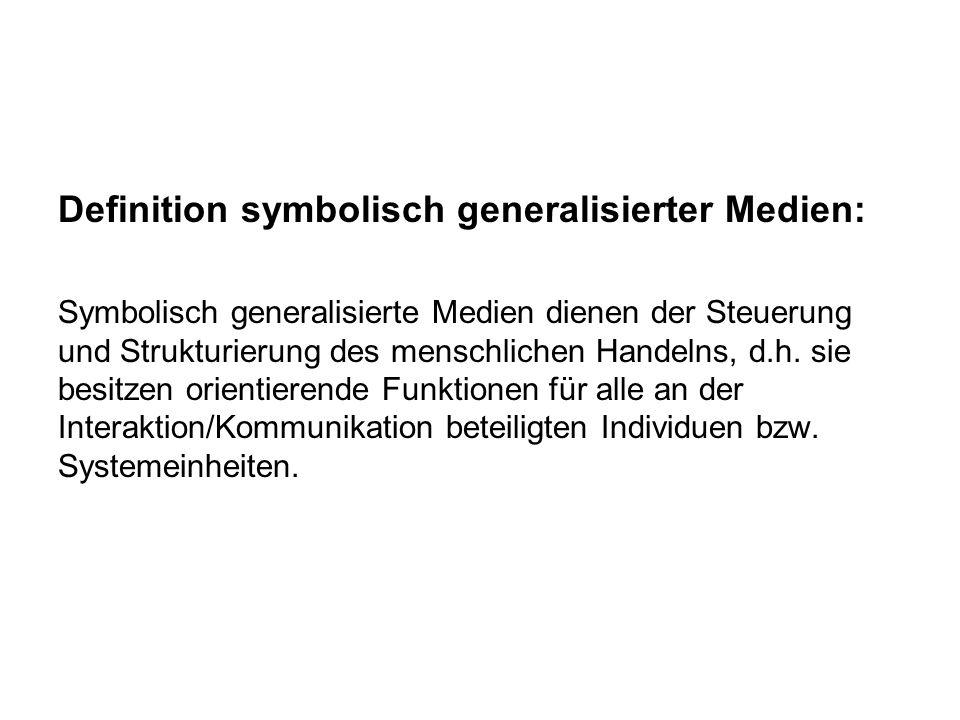 Definition symbolisch generalisierter Medien: