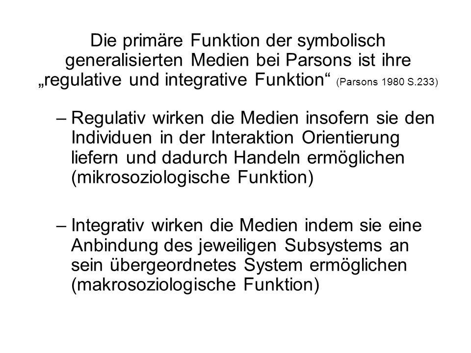 """Die primäre Funktion der symbolisch generalisierten Medien bei Parsons ist ihre """"regulative und integrative Funktion (Parsons 1980 S.233)"""