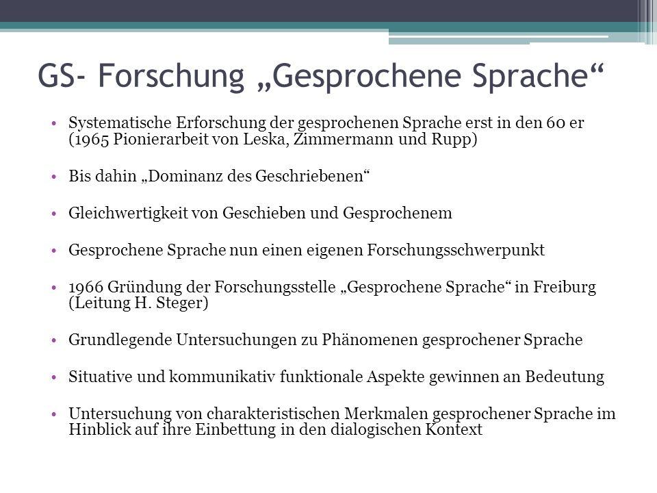 "GS- Forschung ""Gesprochene Sprache"