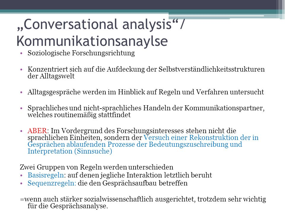 """Conversational analysis / Kommunikationsanaylse"